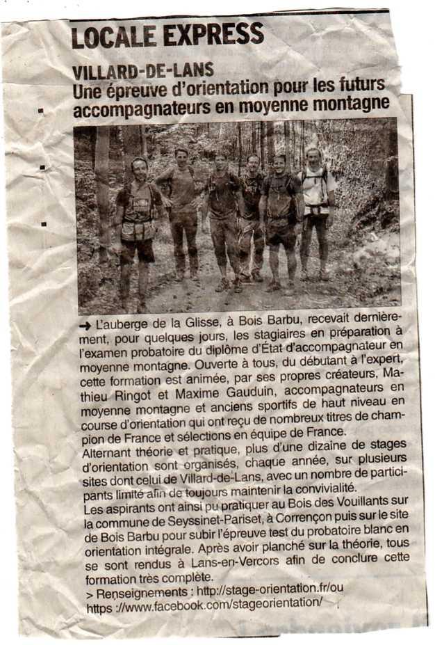 Stage-Orientation.fr dans le Dauphiné Libéré